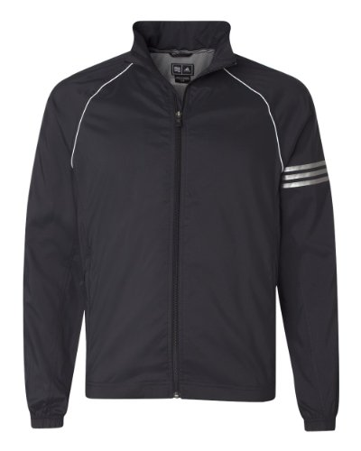 adidas Golf Mens ClimaProof 3-Stripes Full-Zip Jacket - BLACK/WHITE/STERLING -
