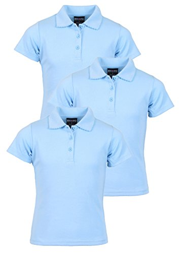 (Beverly Hills Polo Club 3 Pack of Girls\' Short Sleeve Interlock Uniform Polo Shirts, Size 16, Light Blue')