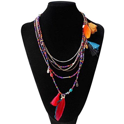 Mosunx(TM) Women Pendant Chain Ethnic Wild Exaggeration Necklace Luxury Necklace Beaded Feather (Burlesque Jewellery)