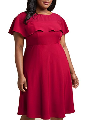 Daci Women's Plus Size Crew Neck Illusion Ruffle High Waist A-Line Midi Cocktail Dress Rose 16W