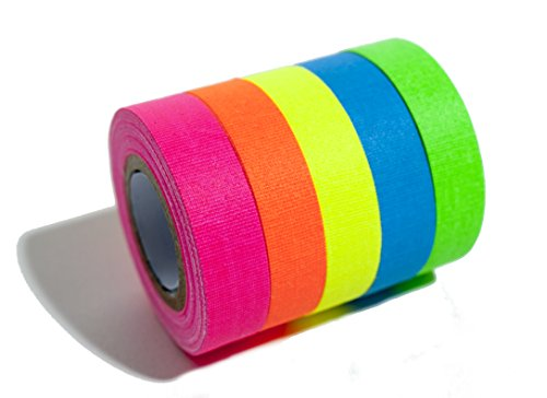 Fluorescent neon gaffer tape - 5 pack. Cloth matt finish is reactive under UV blacklight. Great for glow parties and art projects. Each roll is 18 feet by .5 inches.