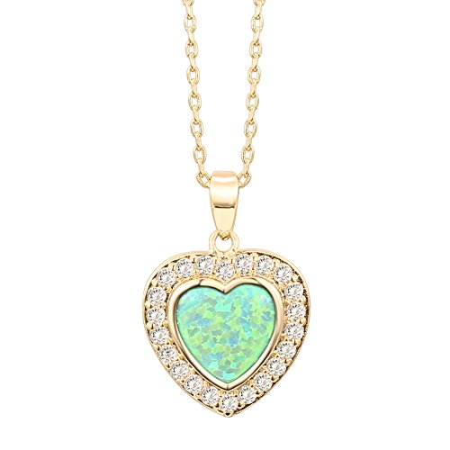 PAVOI 14K Yellow Gold Plated Heart Shape Created Green Opal Necklace