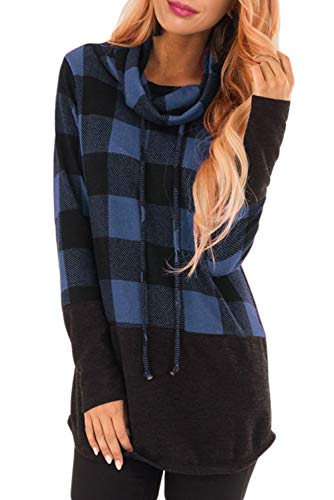 GOLDPKF Womens Cowl Neck Sweaters Plaid Shirts Patchwork Sweatshirts Drawstring Long Sleeve Pullover Tunic Tops for Women for Leggings Blue XL ()