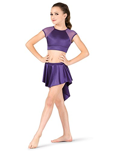 - Double Platinum Girls Performance Satin Gathered Back Short Skirt N7683CRUBI Ruby Intermediate
