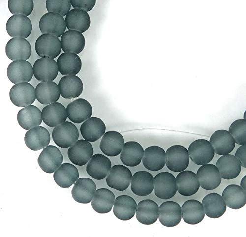 (100 Beads) 4mm Czech Frosted Grey Sea Glass Round/Rocaille Beads Matte Montana Blue
