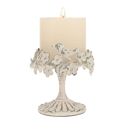 - Stonebriar Decorative Worn White Metal Floral Pillar Candle Holder with Bird Detail, Elegant Home Decor Accents, Unique Centerpiece for Coffee Table, Dining Table, or Mantel