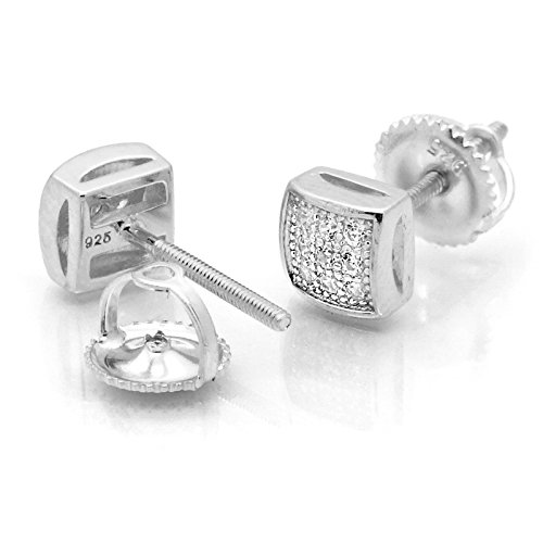 Silver 9mm 3 Line Dome Square Screw Back Earrings (Dome Silver Earrings)