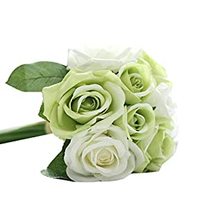 Han Shi Floral Bouquet, 9 Heads Artificial Silk Fake Flowers Leaf Rose Wedding Decor (L, Green) 120