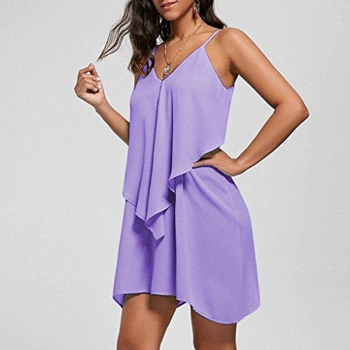XL Ruffles t V 36 Violet 42 Couleur sans S Sexy Overlay 5 Femmes Mini Solide Cou Robe Camis Vintage Flowy Dress Guesspower Longue Femme Manches Mode qpvvtB