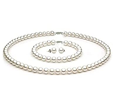 TreasureBay Elegant Natural 7-8mm Near Round Grey Freshwater Pearl Necklace Length: 46cm/18 hWZtR7QSo
