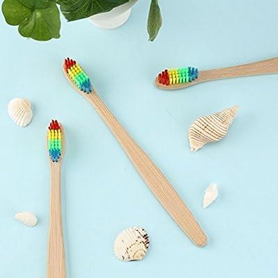 Cepillo de dientes de bambú con cerdas suaves unisex, diseño de arcoíris: Amazon.es: Belleza
