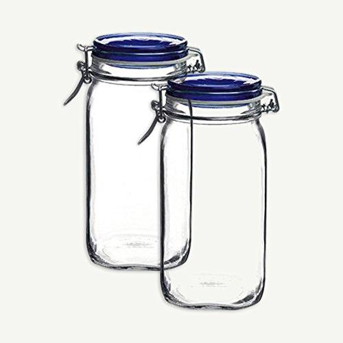 (Bormioli Rocco Set OF 2 Bormioli Rocco Fido Square Jars With Blue Bail And Trigger Lids, 50-3/4-ounc)