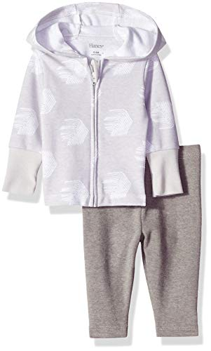 Hanes Ultimate Baby Flexy 2 Piece Set (Pant with Zippin Knit Hoodie), Grey Fun, 0-6 Months