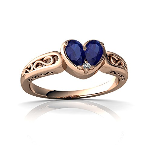 14kt Rose Gold Lab Sapphire and Diamond 5x3mm Pear filligree Heart Ring - Size 9