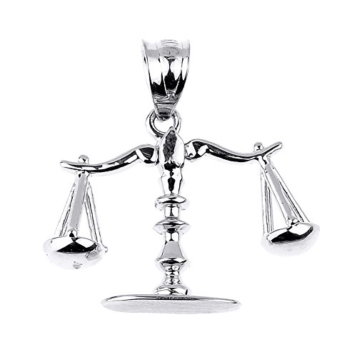 - High Polished 925 Sterling Silver 3D Scales of Justice Charm Pendant