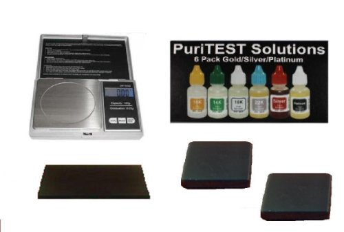 PuriTEST Jewelry Testing Pack with Stones, Acids, and BONUS POCKET SCALE!