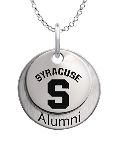 Syracuse University Orange Sterling Silver Stacked Alumni Charm Necklace by College Jewelry