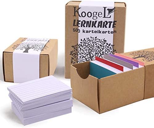 Koogel Karteikarten, 500 Blatt Lernkarten A8 Format weiß liniert Lernkartei in Lernbox für Vokabel Lernen