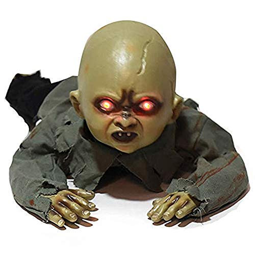 Creepy Baby Ghost Doll Scary Eyes Ghost Crawling Skull Skeleton Haunted House Prop for Bar Yard Garden Home Halloween -