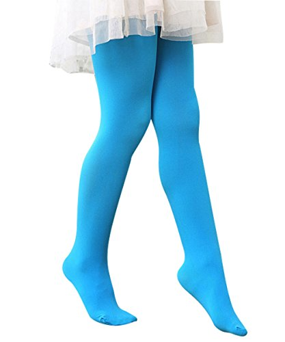 [Zando Girls Cotton Stretchy Comfy Colorful Leggings Pants Elastic Footed Tights Blue Large] (Giraffe Spotted Plush Toddler Costumes)