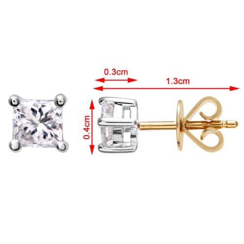 Revoni Bague en or jaune 18carats 1/2carat Diamant coupe princesse certifié J/SI Boucles d'oreilles clous