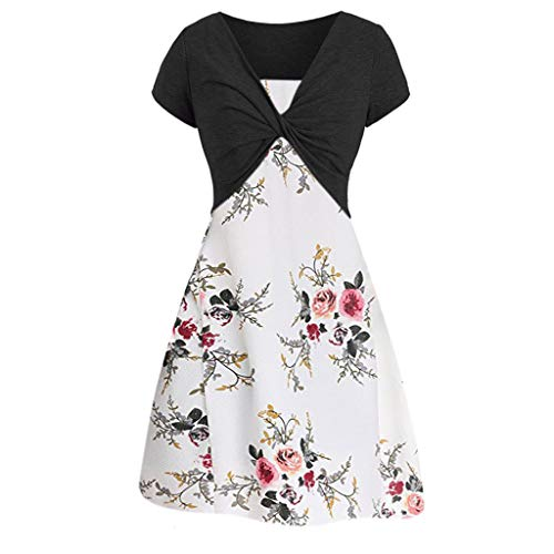 Dresses for Women Casual Summer Short Sleeve Bow Knot Cover Up Tops Sunflower Print Strap Midi Dress Pleated Sun Dresses (Large, Z-5 Black)