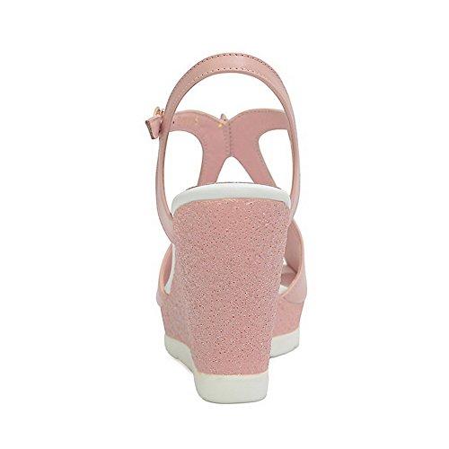 Allhqfashion Para Mujer Redondo Peep Toe Tacones Altos Sandalias De Cuero Vacuno Con Cristal Diamond Pink