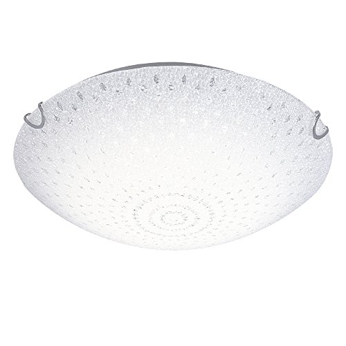 AUDIAN Ceiling Light Flush Mount Interior Dimmable LED Ceiling Fixture White Body Chrome Finish K9 Crystal Raindrop Beads Chandelier White Alabaster Glass for Porch Balcony Bathroom Aisle W11.8 H3.9''