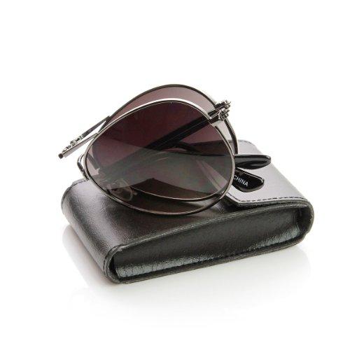 zeroUV - Limited Edition Folding Pocket Aviator Sunglasses + Case (Silver - Folding Aviator