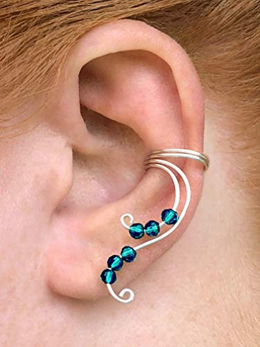 Enameled Pierced Earrings - Fantasy-Inspired Fairy Ear Cuff Silver Earring for Non Pierced Elven Fake Cartilage Piercing with Aqua Blue Green Beads