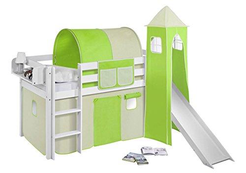 Lilokids Spielbett JELLE Grün Beige - Hochbett - weiß - mit Turm, Rutsche und Vorhang