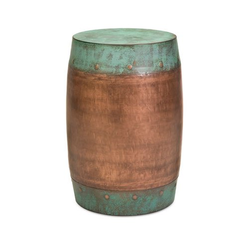 Imax 44195 Rania Copper-Plated Stool - Drum Style Stool, Decorative Accessory, Home Decor. Home Bar Furniture from Imax