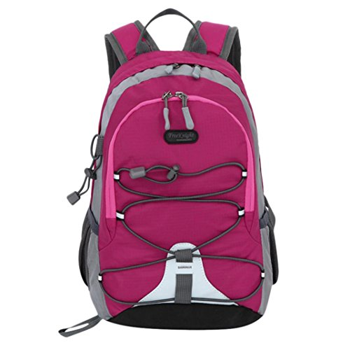 Outsta Trekking Travel Bag, Waterproof Outdoor Backpack Bookbag Children Boys Girls School Classic Basic Casual Daypack for Travel (Hot Pink) by Outsta