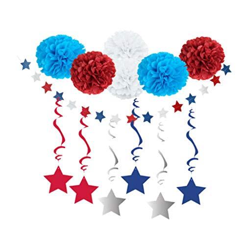 Denzar American Independence Day Decoration Set, Pentagram Spiral Banner Hanging Decor Paper Flower Home Party Decoration Venue Decoration Props