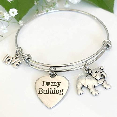 Bulldog Bracelet - Charm Bangle for English Bull Dog Owners - Gift for Dog Mom - -