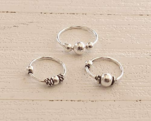 (Set Three Sterling Silver Bali Hoops, 9mm 8mm Hoops, Nose Ring, Helix, Cartilage)