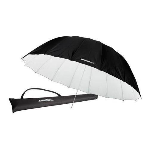 Westcott 7 Feet Parabolic Umbrella, White/Black Bundle with Umbrella Bracket/Adjutsable Flash Mount, 8.5' Black Lightstand