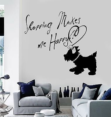 Vinyl Wall Decal Quote Girl Room Dog Shopping Fashion Woman Stickers VS653