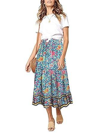 LookbookStore Women Summer Boho Floral Print Elastic Waist A Line Long Maxi Skirt - Blue - Small