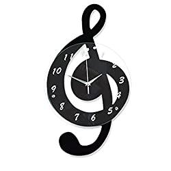 OOFYHOME Wall Clock Musical Notes Wall Clock Modern Minimalist Personality Fashion Wall Clock Art Clock Silent Non-ticking Clock for Living Room Bedroom