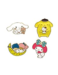 CAROMAY 4 PC Cartoon Lapel Pins Set Dogs Moon Boys Girls Kawaii Enamel Brooch Cute Pins for Son Daughter Jacket Bags Dress
