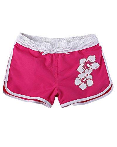 Cool und Lässige Kinder Mädchen Sommer Badeshorts in aktuellen Trendfarben mit Hibiskus Design. Jack 1252KI-f6046 Farbe: Neon Pink, Gr. 140