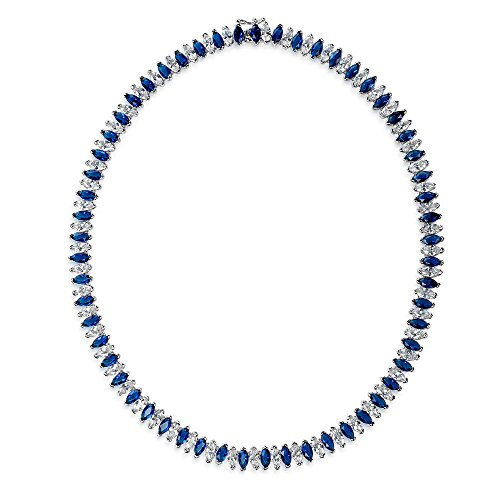Bling Jewelry en Verre bleu Oxyde de Zirconium Marquise Collier Tennis