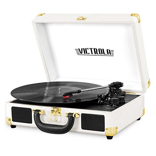 Victrola Vintage 3-Speed Bluetooth Suitcase Turntable with Speakers, White ()