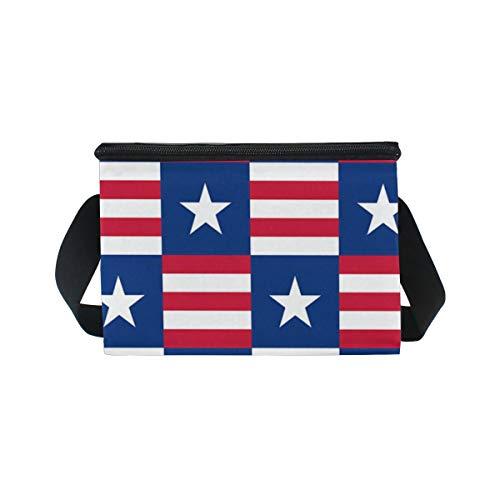 rojas de Unidos para correa enfriador diseño bandera blanco azul almuerzo rayas hombro picnic con de Estados Bolsa fiambrera de de estrella de y color patriótico qdFanwqx