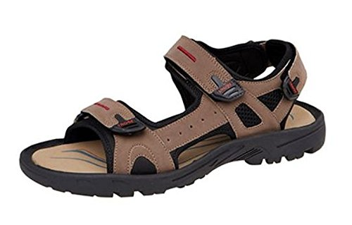 PDQ Mens Nubuck Leather Look Triple Adjustable Strap Hiking Sports Sandals Brown Black Sizes 6-12 Brown 1n3eb