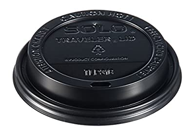 "SOLO TLB316-0004 Polystyrene Traveler Plastic Lid For Hot Cups, 3.7"" Dia. x 0.7"" H, Black (10/100)"