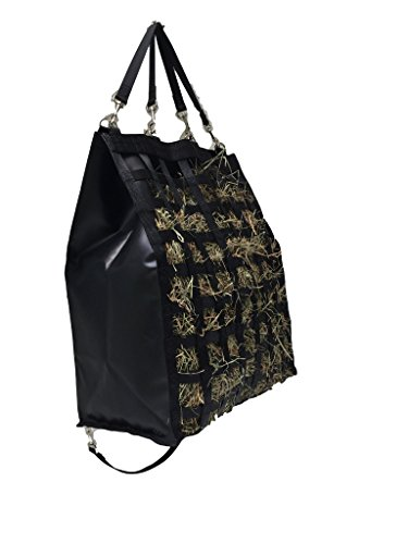 "The Original NibbleNet 12""XL deep w/ 2"" Slow Feed Hay Bag by Thin Air Canvas, Inc. = Black"