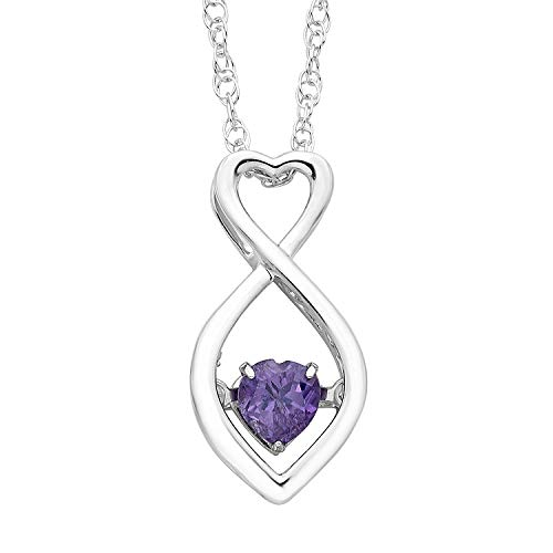 Boston Bay Diamonds Brilliance in Motion 925 Sterling Silver Dancing Heart-Shaped Infinity Created Alexandrite June Birthstone Pendant Necklace, - White Gold Semi 18k Mount