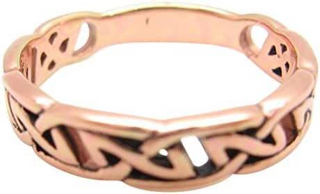 Solid Copper Celtic Knot Band Ring Size 10 - CRI504 - 1/4 of an Inch Wide.